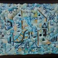El-Científico-VIII-(Mujer-con-Violín)-75.5-x-100-Mixta-Óleo-Tela